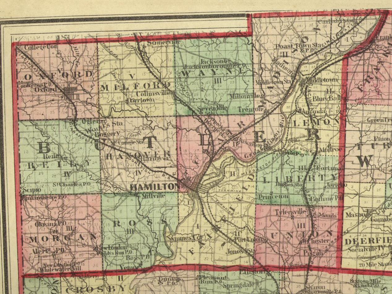 1875 Map Of Butler County Ohio