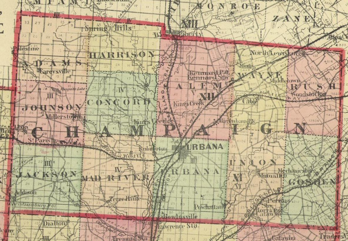 1875 Map of Champaign County, Ohio Champaign Map on
