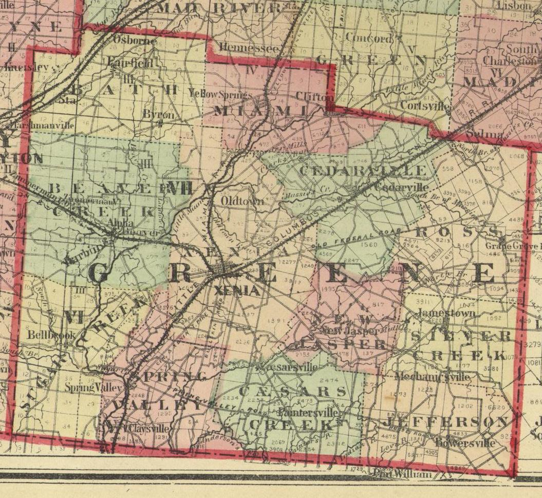 1875 Map of Greene County, Ohio
